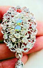 Silver Crystal Vintage Flower Drop BROOCH Pin Broach Bridal Diamante Rhinestone