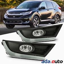 [GLASS LENS] Fit 2017-2018 Honda CRV Chrome Trim Driving Bumper Fog Lights Pair