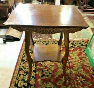 Antique Oak Parlor Table Side Accent Table with floral carved apron