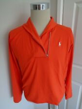 BNWT Ralph Lauren Polo Golf  Orange Long Sleeve Zip Pullover Top size XL