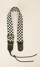 Guitar Strap BLACK & WHITE CHECKERBOARD NYLON For Acoustic & Electrics Made USA