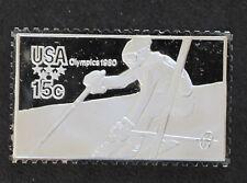 1980 USA Alpine Skiing Silver Art Bar U.S. Olympic Postage Stamps P0444
