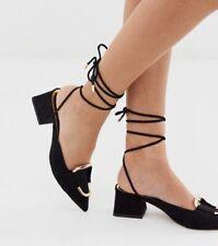 ASOS Design Subtract Ring Detail Mid-Heels In Black UK Size 6 New