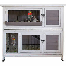 Pet Bunny Hutch House Cage for Rabbits and Guinea Pigs, White (Open Box)