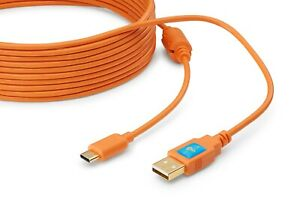 Latch and Lock 15 Foot (4.5M) USB-C to USB-A Gold Plated Orange Cable