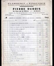 """DINAN (22) ZINGUERIE PLOMBERIE CHAUFFAGE SANITAIRES """"Pierre DUBOIS"""" en 1955"""