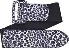 67051 Gray Leopard Print on Black Wide Stretch Belt Sourpuss Pinup Small