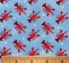 """100% Cotton Fabric Red LOBSTERS On Sea Of Blue DIY Mask / Quilting FQ 18""""X 22"""""""