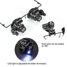 20X Magnifying Magnifier Eye Glass Loupe Jeweler Watch Repair with LED Light Kit