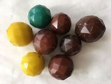 * Antique Rare Colors 8 Large Faceted Bohemian Czech Glass Beads African Trade