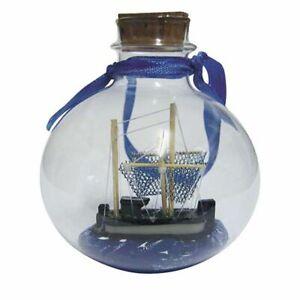 "Bottle Ship Ball "" Shrimp Boat "", Maritime Decoration, Bottle Ship 7 CM"