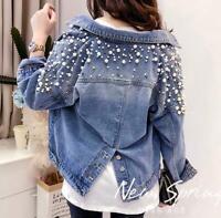 2019 Spring Denim Jacket Womens Pearl rivets Jeans Sequins Jackets coat outwear
