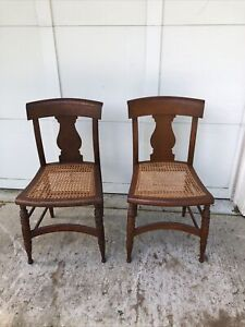 PAIR of fine EARLY 19th CENTURY AMERICAN  FEDERAL TIGER MAPLE SIDE CHAIRS ~