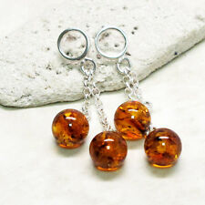 CHARMING  NATURAL BALTIC AMBER DANGLING 925 STERLING SILVER STUD EARRINGS