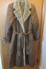 BONDERS WOMENS BROWN FULL LENGTH Button up Front COAT  fur Lining  Sz. M-L
