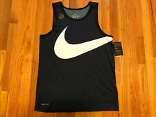 NIKE DRY Swoosh Dri-Fit Athletic Cut Training Tank Top 834323 Navy Mens Size L