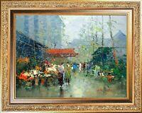 Gold Framed Original Painting, Oil On Canvas, J Morgan Signed, Paris Flower Shop