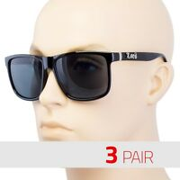 3 PC MEN DARK LENS GANGSTER BLACK OG SUNGLASSES LOCS BIKER GLASSES