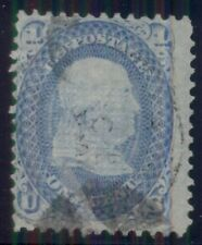 """US #92 1¢ blue """"F"""" Grill, used, Weiss cert """"very thin paper variety"""" Scott $425+"""