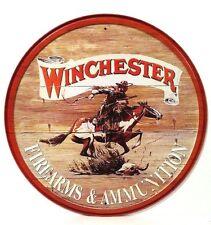 WINCHESTER EXPRESS FIREARMS AND AMMUNITION RETRO NOSTALGIC ROUND TIN SIGN 975