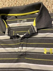 Under Armour Mens XL Loose Fit Polo Golf Shirt Short Sleeve Gray Striped