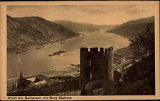 Der Rhein bei Bacharach alte s/w AK ~1920/30 Panorama mit Burg Stahleck Schiffe