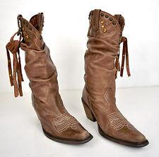 Steve Maden Boots Cowboy Western Brown Studded Scrunch 6
