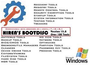 HIREN'S BOOT DISC FIX REPAIR RECOVERY CD DVD FOR WIN XP VISTA 7 8 8.1 PC