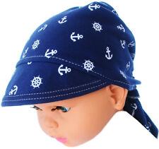 Kopftuch Baby Kinder Sommer Mütze Blau Mützchen Kopfbedeckung Bandana mit Schild