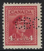 Perfin C6-CBC (Canadian Broadcasting Corp): Scott 254, 4c KGVI War Issue, Pos. 1