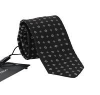 NEW $180 DOLCE & GABBANA Tie Black 100% Silk White Pattern Logo Classic Necktie