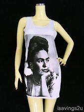FRIDA KAHLO Tank Top, Mexican ICON Pop ART White SINGLET, Cotton T-shirt MINI