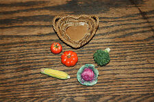 Dollhouse Vegetables Food Lot Miniature corn cob cabbage tomato basket broccoli