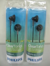 2 x Philips SHE 3010BK Earbuds-Earphones-Headphones Black