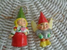 2 Unieboek Gnome Fairy -Ceramic 1979 Korea Made Christmas Ornaments