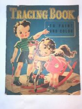 Vtg RARE! 1940 Florence Sarah Winship Tracing Coloring Book Adorable Pictures