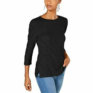 MSRP $30 INC International Concepts Puff-Sleeve Top Black Size Small