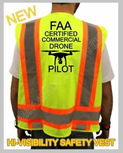FAA DRONE CERTIFIED PILOT HIGH VISIBILITY SAFETY YELLOW VEST BLACK DESIGN*DRONE