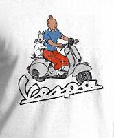 Vespa Scooter Italian Tintin Print White shirt Big Sizing Free UK Delivery