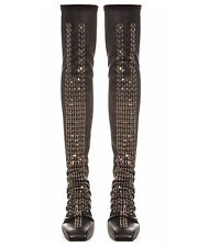 RICK OWENS Sphinx Sequin Black Leather Thigh High OTK Low Wedge Boots EU39  US 9