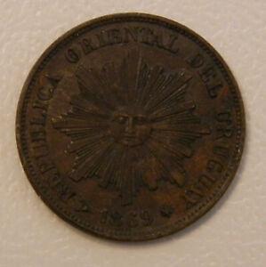 Uruguay 1 centesimo1869H; K-11
