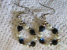 """Gold Tone Faceted Blue Glass & White Faux Pearl Drop Earrings - 2.5"""" long"""