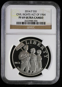 2014-P Proof Civil Rights Act of 1964 Commemorative Silver Dollar NGC PF 69 UC