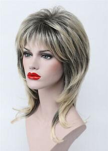 Ladies Wig Black Blonde Mix Medium Curly Women Natural Cosplay Wig+Wig Cap