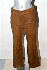 luxueux pantalon cuir marron femme AALLARD DE MEGÈVE taille 40 valeur 2500€