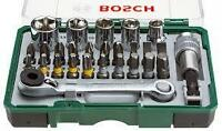 "Bosch 27 Pc 1/4"" Hex Sockets + Mini Ratchet & Screwdriver Bit Set 2607017160"