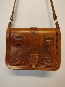 Vintage Real Leather Shoulder Bag Mexican Style Handmade