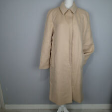 Calvin Klein Collection Wool cashmere bl Long Beige Trench Coat Jacket Sz 14 aw