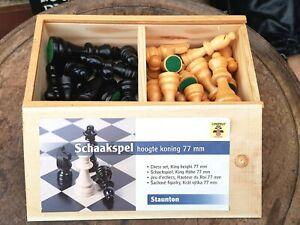 Vintage-German Made-Staunton Pattern Wooden Chess Set In Box-Complete-Schaakspel