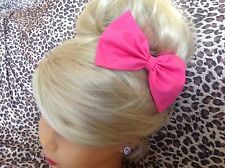 """HANDMADE 5"""" BRIGHT PINK COTTON FABRIC BOW HAIR CLIP CUTE 50's VINTAGE STYLE"""